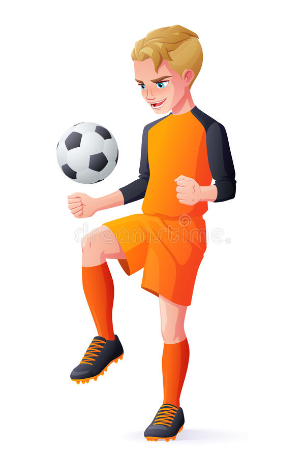 Vector young football or soccer player boy playing with ball. Cute young football or soccer player boy in orange uniform playing with ball. Cartoon vector royalty free illustration