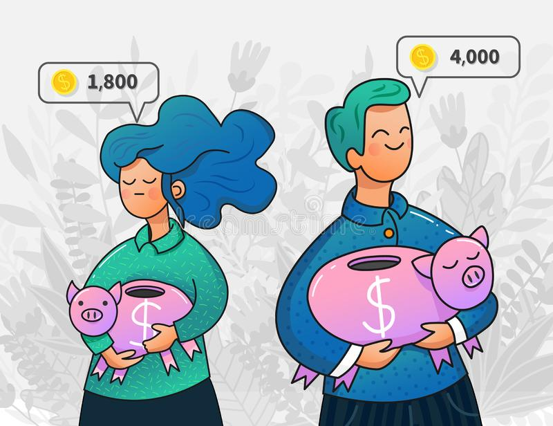 Vector young man and woman holding piggy banks stock illustration