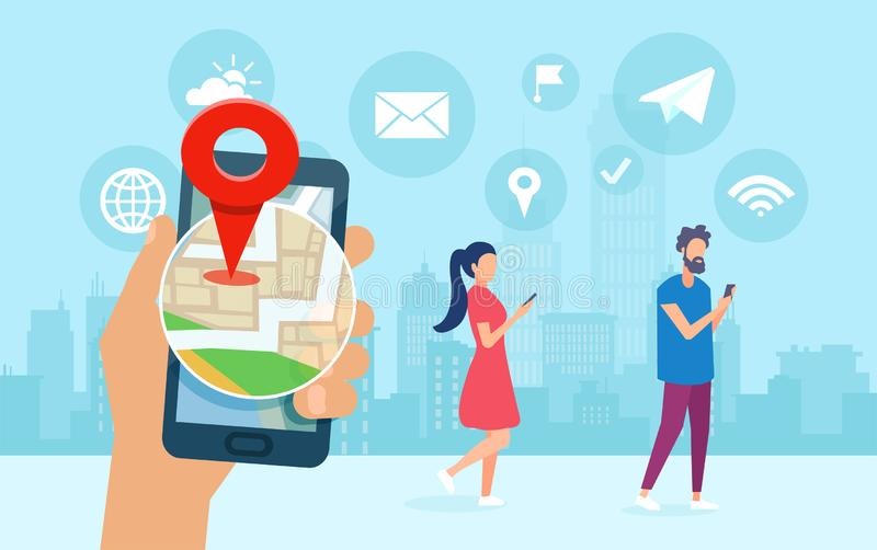 Vector of young people using smart phone apps sharing location, chatting browsing internet royalty free illustration