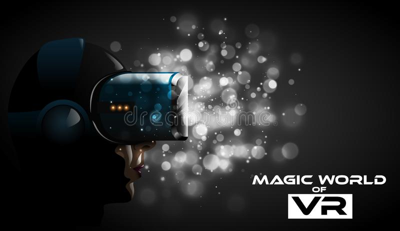Vector young pretty woman wearing virtual reality headset 3d glasses. Game anime movie style character for vr cover label. Dramatic white bokeh lights royalty free illustration