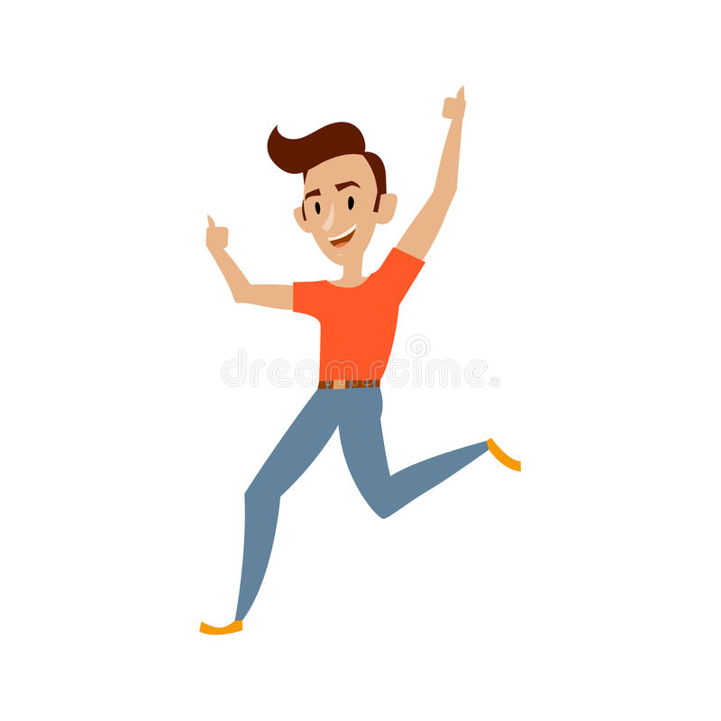 Vector young teenager dances smiling isolated vector illustration