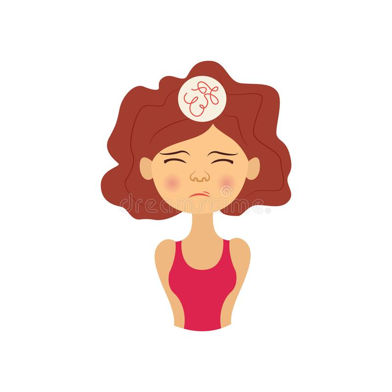 Vector young woman with headache pain vector illustration