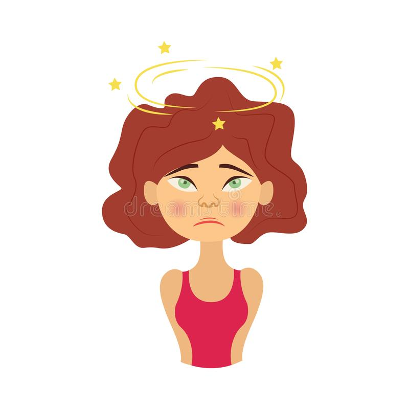 Vector young woman with headache pain royalty free illustration