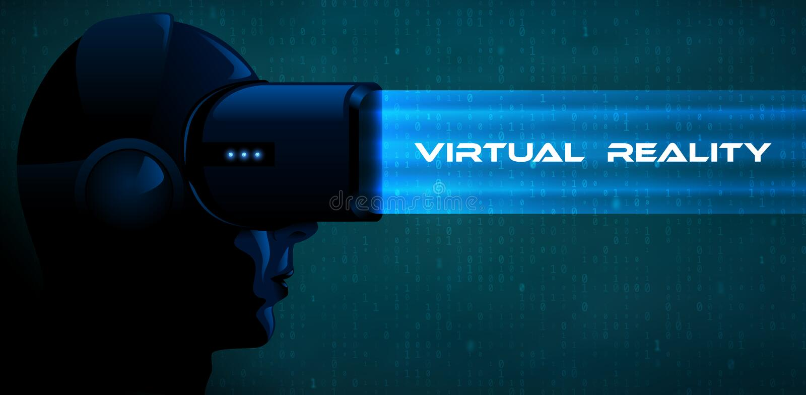 Vector young woman wearing virtual reality headset 3d glasses with blue ray. Game anime movie style character dark vr banner royalty free illustration