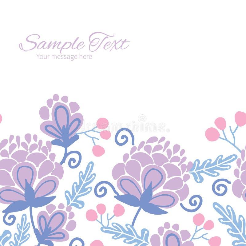 Vector zacht purper bloemen horizontaal kader vector illustratie