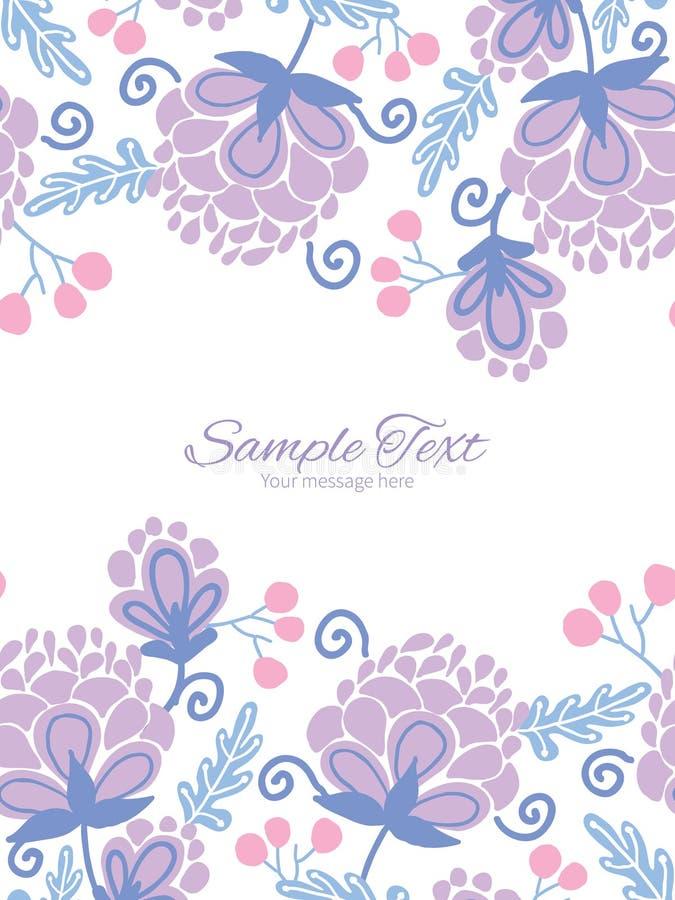 Vector zachte purpere bloemen verticale dubbele grenzen vector illustratie