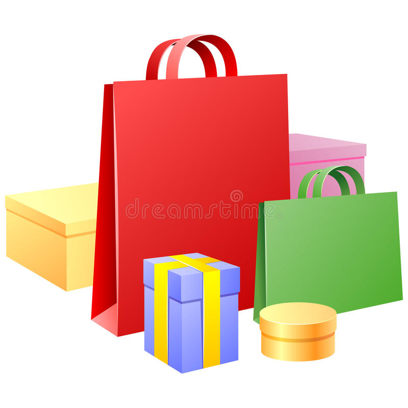Vector zakken en giftverpakkingsmateriaal vector illustratie