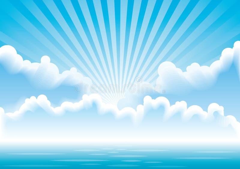 Vector zeegezicht met wolken en zonstralen royalty-vrije illustratie