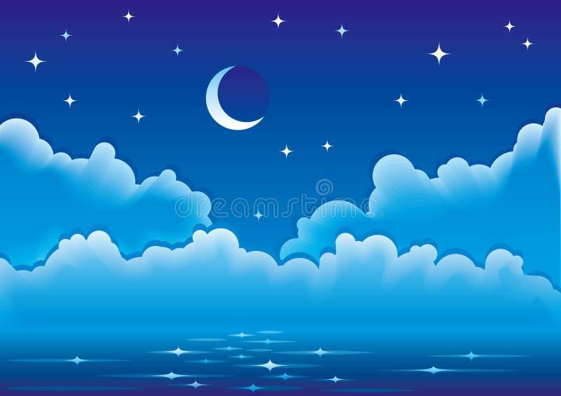 Vector zeegezicht met wolken, maan en sterren vector illustratie