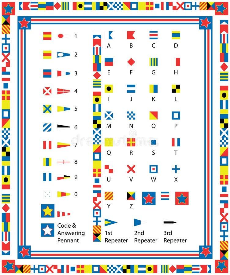 Vector ZeevaartVlaggen en Grenzen royalty-vrije illustratie