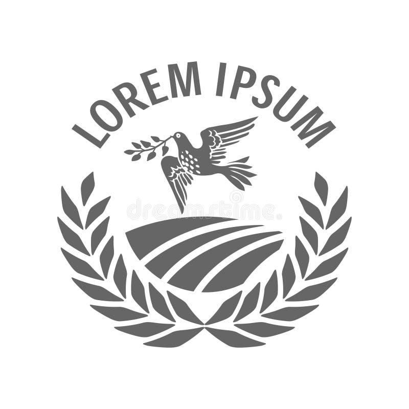 Vector Zeichen mit ländlichem Ackerland in einem Kreis von Ährchen und von tragenden Ölzweig des Taubenvogels im Schnabel als Fri stock abbildung