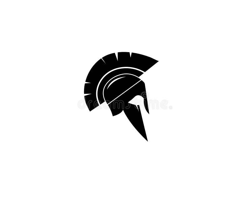 Vector Zeichen Spartanisches Sturzhelmlogo lizenzfreie abbildung