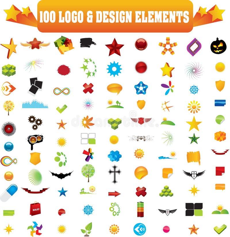 Vector Zeichen u. konzipieren Sie Elemente, 100 Stücke lizenzfreie abbildung