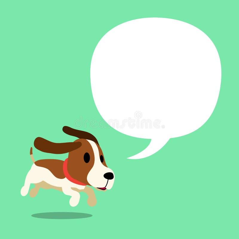 Vector Zeichentrickfilm-Figur-Labrador-Hund und eine weiße Sprache bubbleVector Zeichentrickfilm-Figur-Jagdhund- und weißesprache vektor abbildung