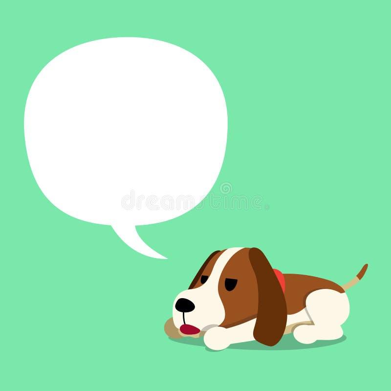 Vector Zeichentrickfilm-Figur-Labrador-Hund und eine weiße Sprache bubbleVector Zeichentrickfilm-Figur-Jagdhund- und weißesprache lizenzfreie abbildung