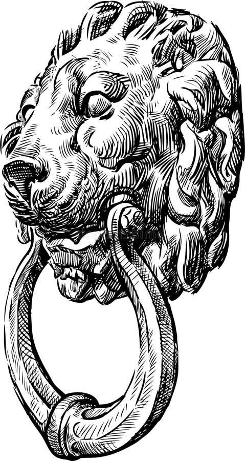 Türgriff in Form eines Löwekopfes vektor abbildung