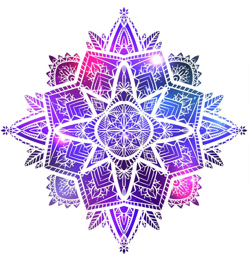 Vector zen mandala with boho pattern, space background with stars and nebula. The object is separate from the background. Spiritual, magical  element for your vector illustration