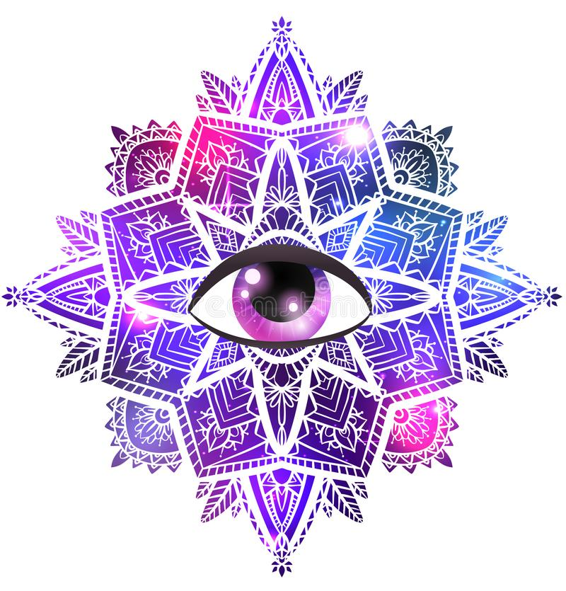 Vector zen mandala with eye of providence, boho pattern, space background with stars and nebula. Vector zen mandala with  eye of providence, boho pattern, space vector illustration