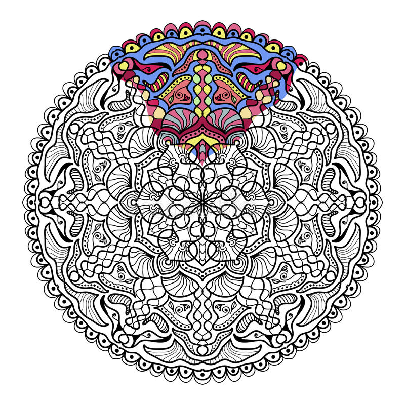 Vector zendala for coloring. Coloring book for adults. Page for relax and meditation royalty free illustration