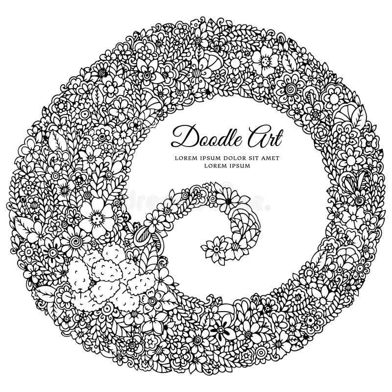 Vector zentangl иллюстрации, круглая рамка в цветках Чертеж Doodle Стресс книжка-раскраски анти- для взрослых черный иллюстрация штока