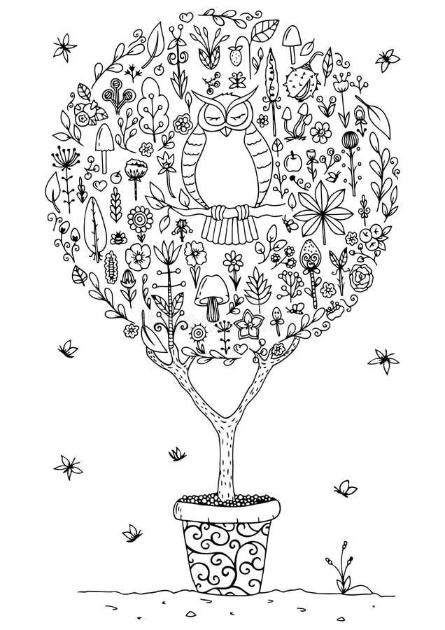 Vector zentangl иллюстрации, круглый комплект с сычом и цветки Чертеж Doodle Медитативные тренировки иллюстрация графика расцветк иллюстрация вектора
