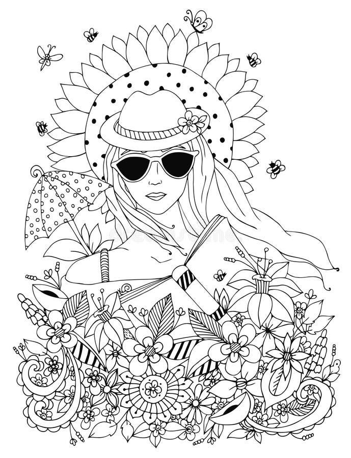Vector zentangl иллюстрации, портрет doodle женщины иллюстрация штока