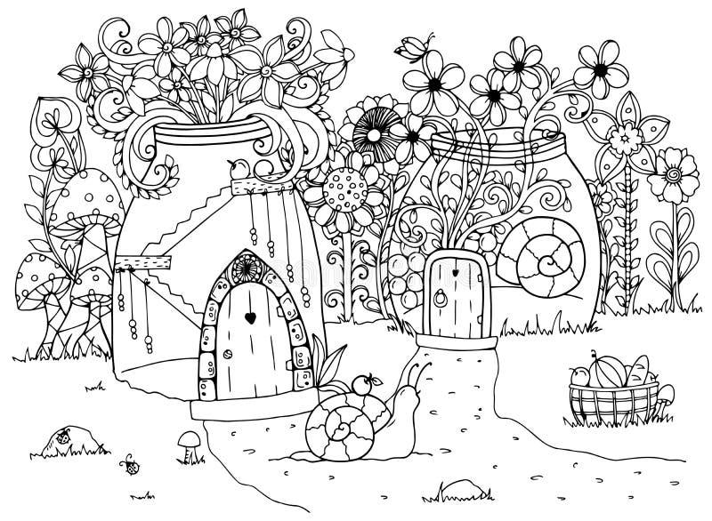 Vector zentangl иллюстрации, улитка и дом Ручка чертежа Doodle Страница расцветки для взрослого анти--стресса Черная белизна бесплатная иллюстрация
