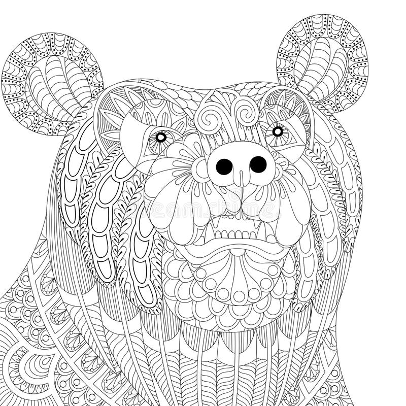 Vector Zentangle Bear Head For Adult Anti Stress Coloring Pages ...