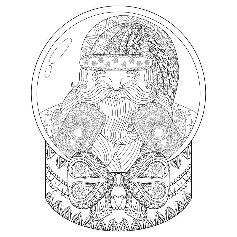 Vector zentangle Christmas snow globe with Santa Claus. Hand drawn snowglobe for adult coloring book, pages, art therapy. vector illustration
