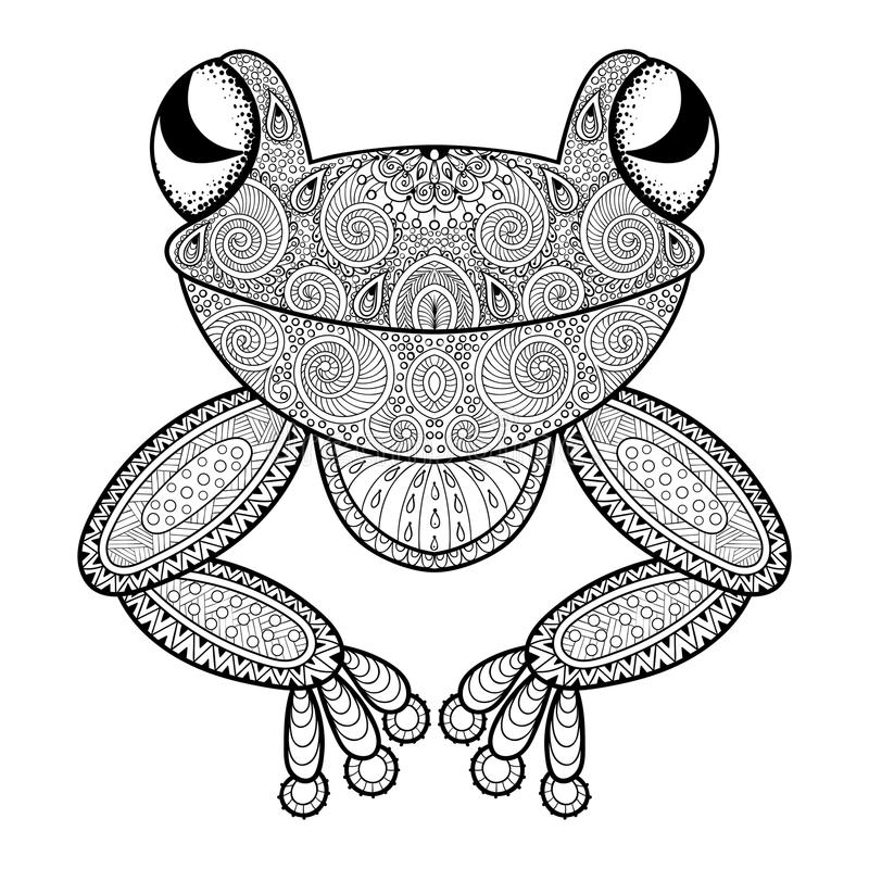 Download Vector Zentangle Frog For Adult Anti Stress Coloring Page Hand Stock