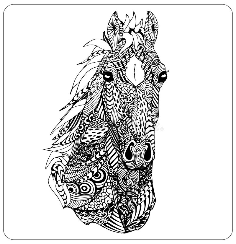 Vector zentangle horse head. High detailed ornamental muzzle isolated stock illustration
