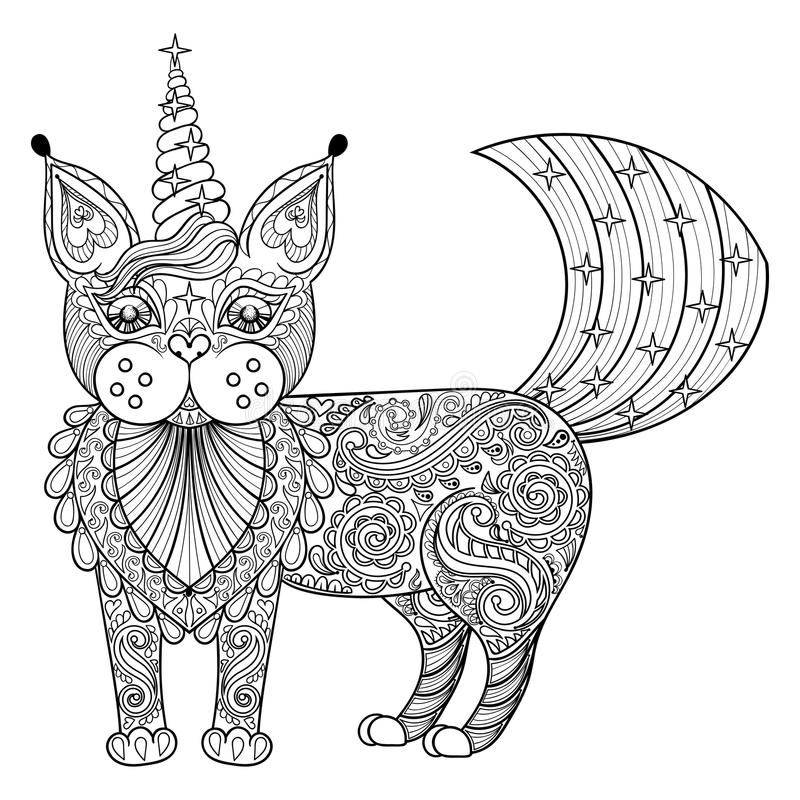 Vector zentangle magic cat unicorn, black print for adult anti s. Tress coloring page. Hand drawn artistically ethnic ornamental patterned illustration. Animal stock illustration