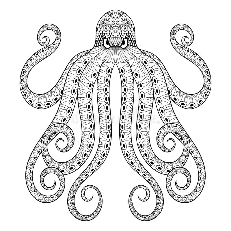 Download Vector Zentangle Octopus Print For Adult Coloring Page ...