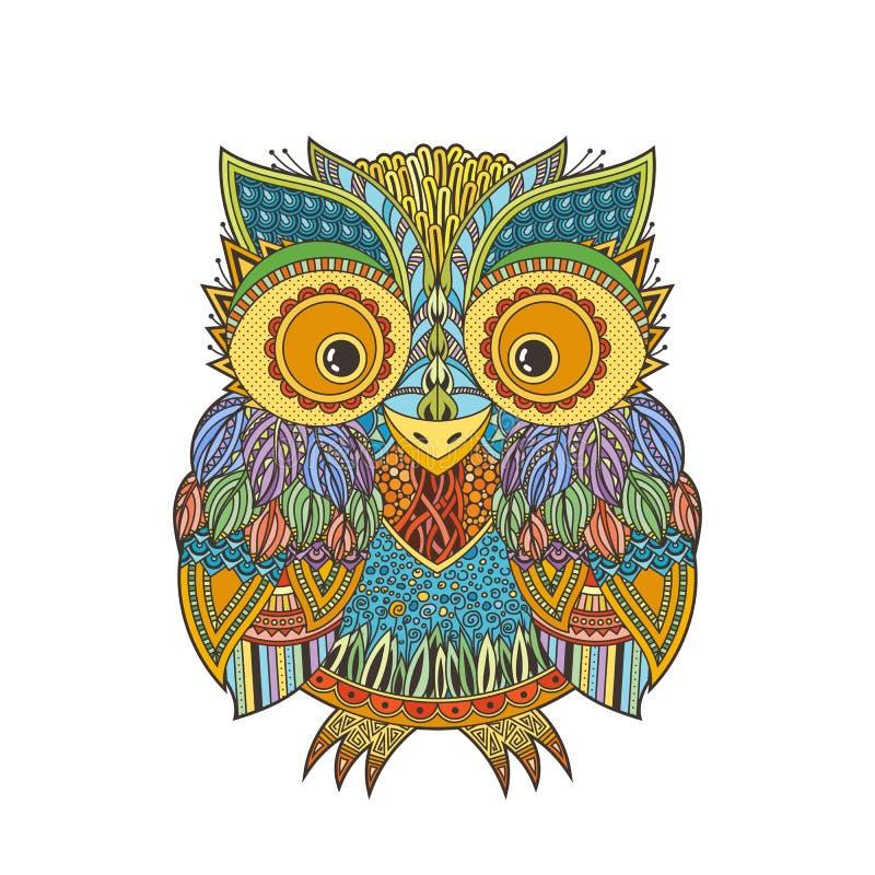 Vector zentangle owl illustration. Ornate patterned bird. royalty free illustration