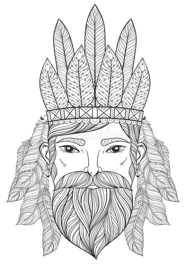 Vector Zentangle Portrait Of Man With Mustache, Beard, War Bonne ...