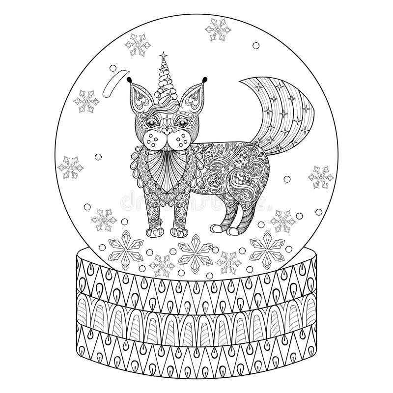 Vector Zentangle Snow Globe With Maic Cat Like Unicorn ...