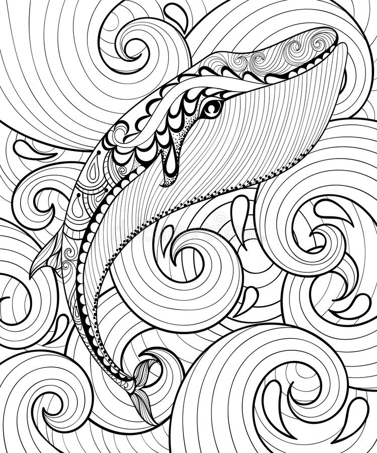 Vector zentangle whale in sea, print for adult coloring page A4 vector illustration