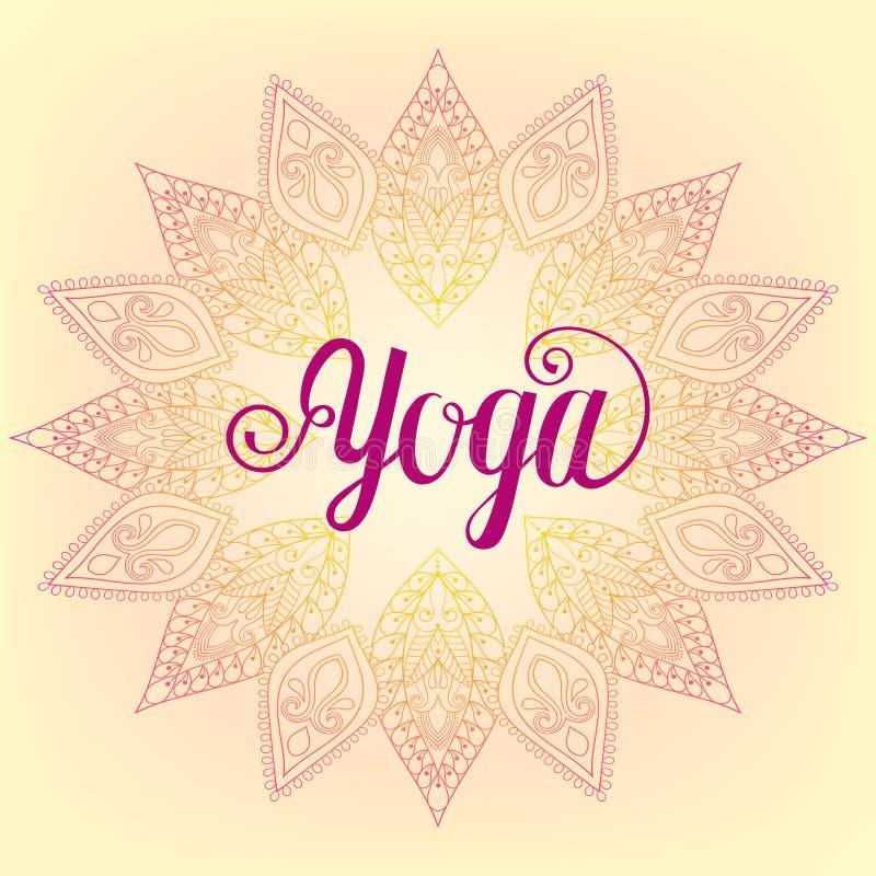 Vector zentangle Yoga design, hand drawn template, emblem with l stock illustration