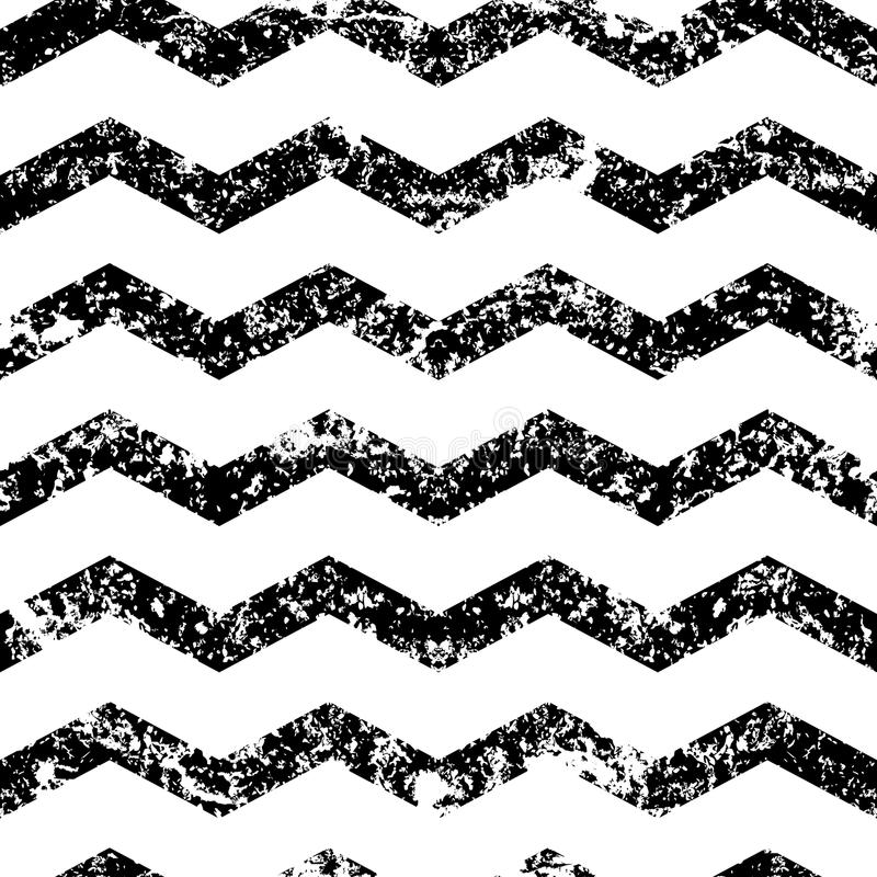 Hand drawn vector zigzag line grunge seamless pattern. Abstract black and white old texture background. stock illustration