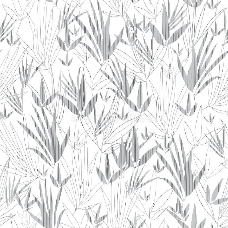 Vector Zilveren Grey Asian-Naadloze het Patroonachtergrond van de bamboekimono Groot voor elegante grijze textuurstof, kaarten royalty-vrije illustratie