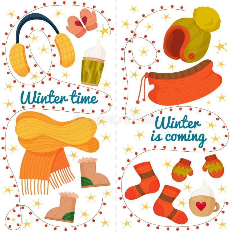 Vector zimowa ilustracja z różnymi ubraniami Karty z zimą, gwiazdy, ziemia, niebieski tekst fotografia stock