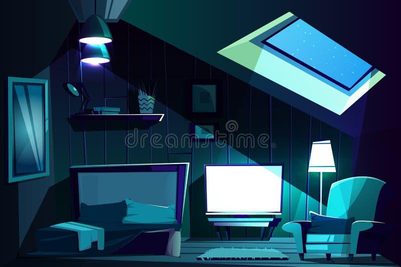 Vector zolderruimte bij nacht Beeldverhaalzolderkamer royalty-vrije illustratie