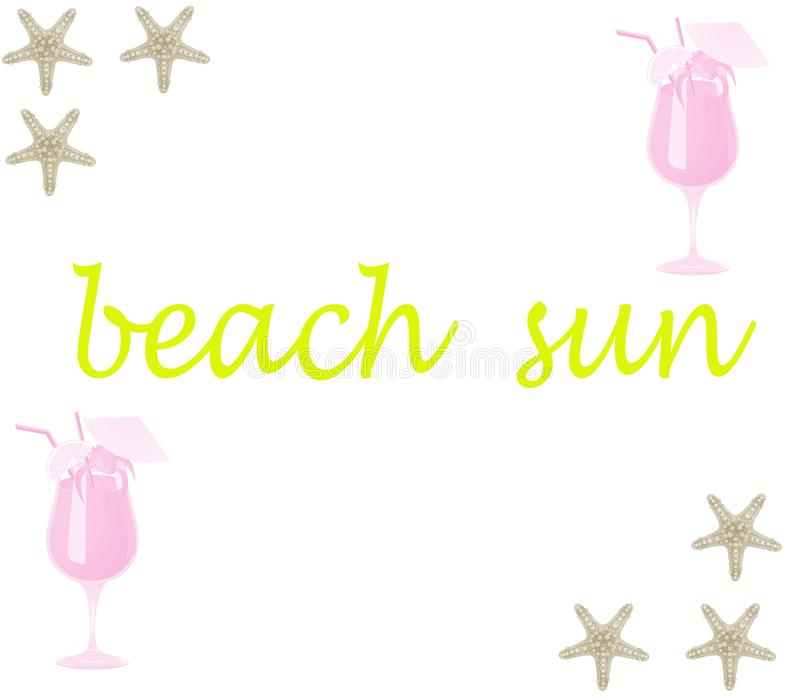 Vector zonnig strand met overzeese sterren en verse drank koel op een witte achtergrond royalty-vrije illustratie