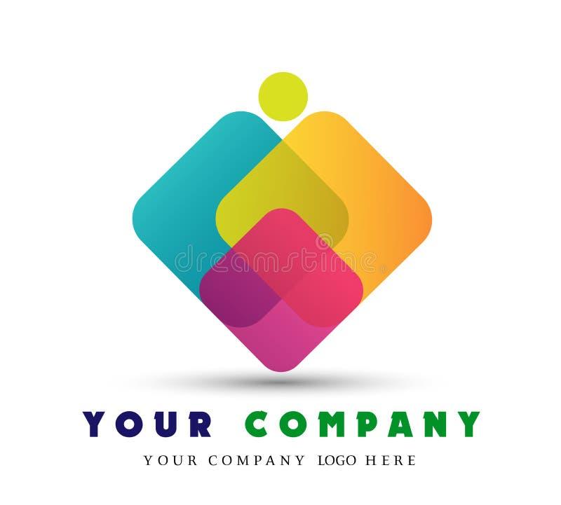 Vector Zusammenfassung stilisierte Familie, Teamführungsikone, Logo, das Zeichen, das auf weißem Hintergrund lokalisiert wird lizenzfreie abbildung