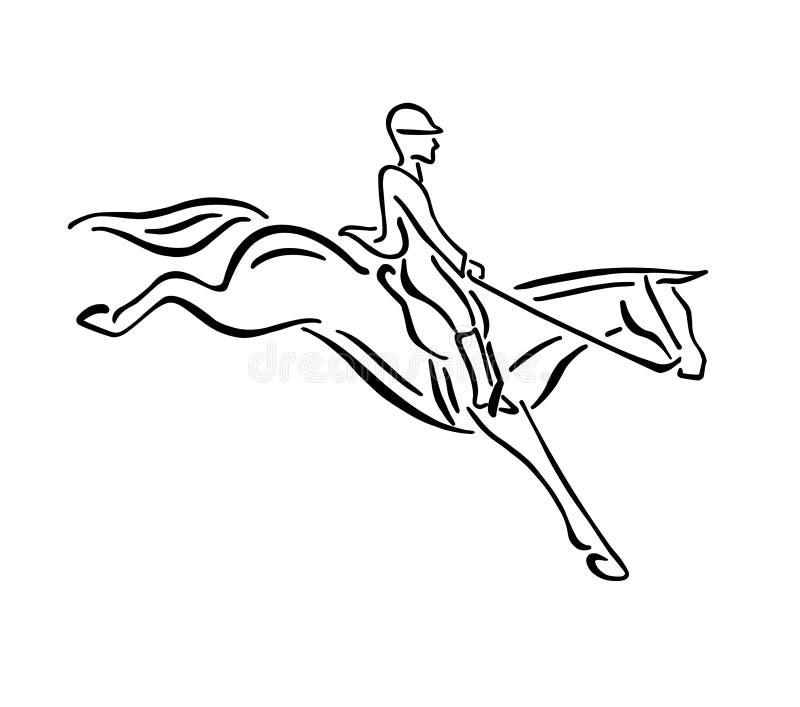 Vector zwart hand getrokken paard het springen embleem royalty-vrije illustratie