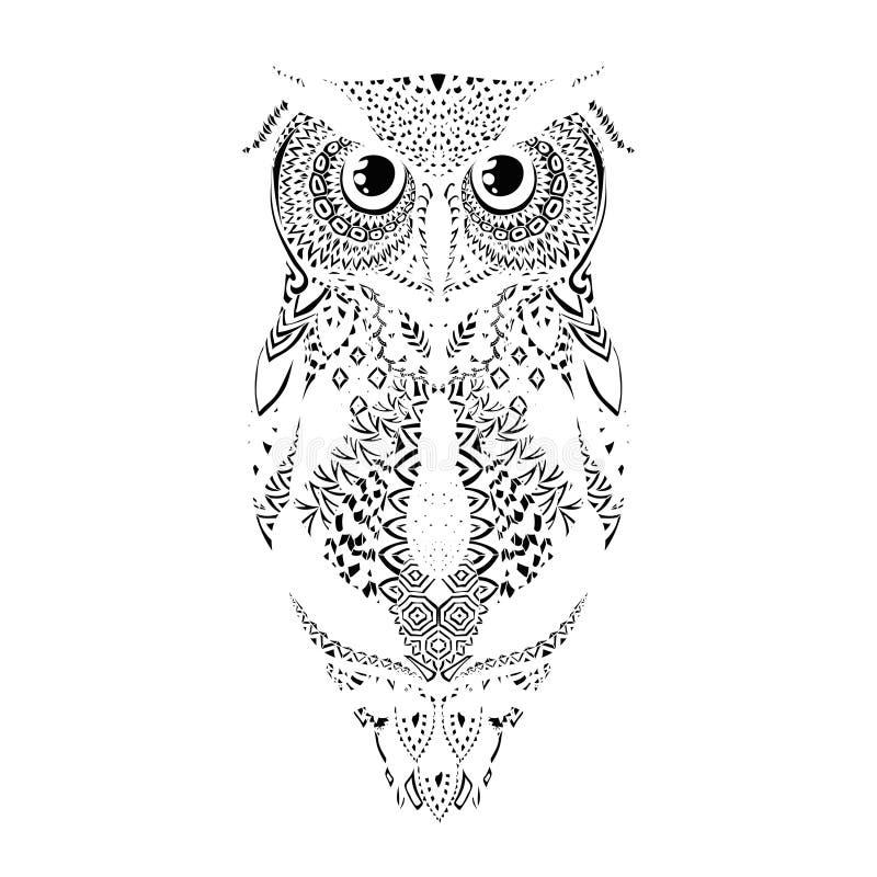 Vector zwart hand getrokken stammen gevormd Owl Illustration stock illustratie