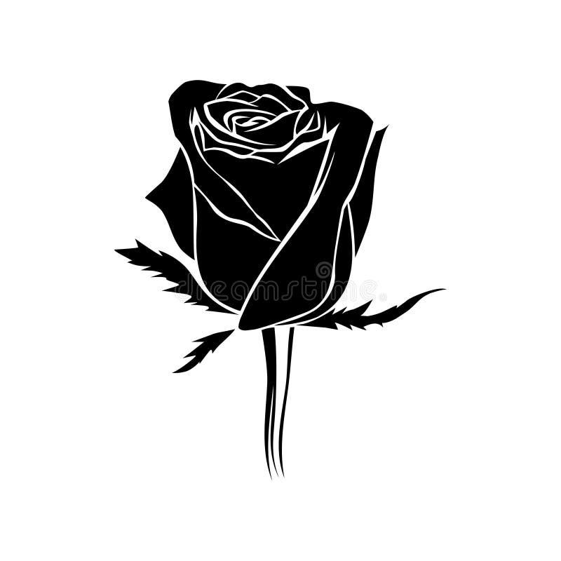 Vector Zwart rosebud silhouet Het embleem, de tatoegering of het embleem van namen toe vector illustratie