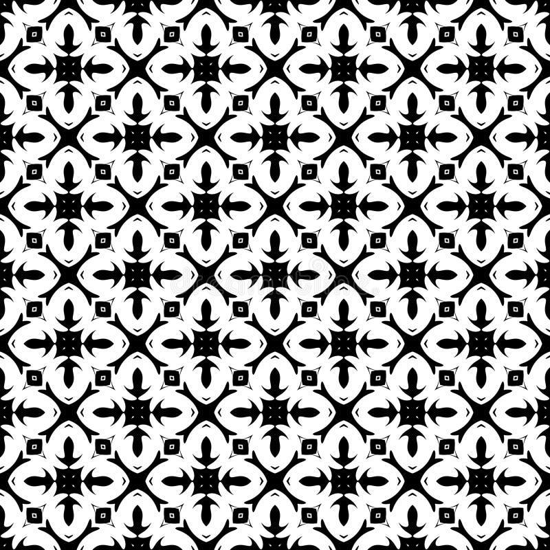 Vector Zwart-wit abstract geomatrical bloemenontwerp, naadloos patroon of ontwerp vector illustratie