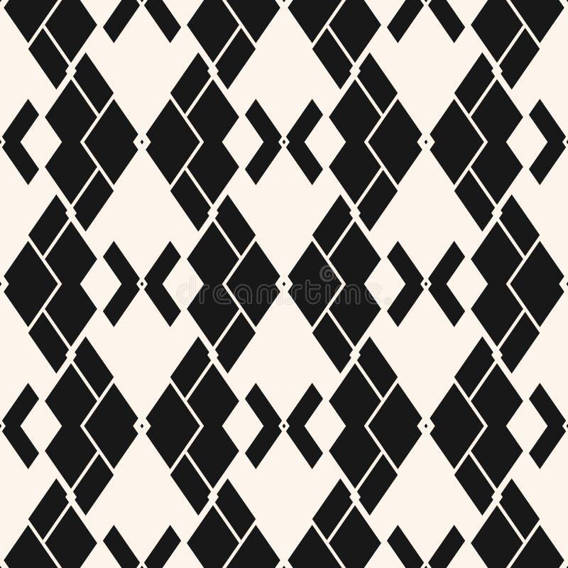 Vector zwart-wit abstract geometrisch naadloos patroon met ruiten, net vector illustratie