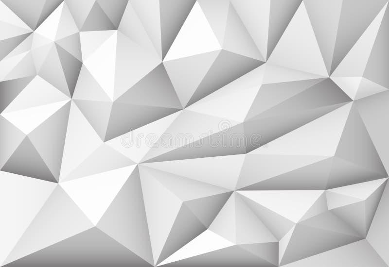 Vector zwart-wit abstracte veelhoekige geometrische driehoeksachtergrond stock illustratie